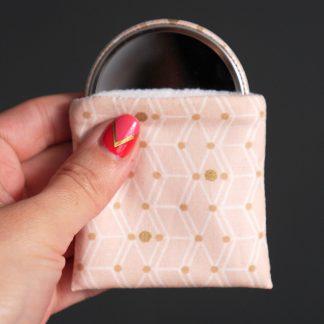 Miroir de poche graphique rose poudré et pois or gold doré chic glamour cadeau femme Noël - Julie & COo