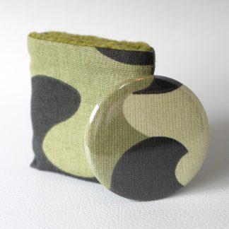 Miroir de poche rond imprimé militaire tissu camouflage étui polaire vert kaki cadeau Noël pas cher - Julie & COo