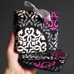 Lingettes lavables démaquillantes fait main tissu coton ethnique asiatique noir gris blanc rose magenta éponge doux écologique zéro déchet - Julie & COo