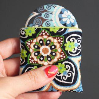 Miroir de poche tissu ethnique fleur bleu turquoise vert fluo cadeau femme beauté étui polaire - Julie & COo