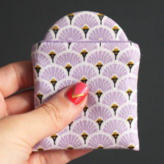 Miroir de poche rond motifs graphique écailles japonaise tissu cadeau femme joli accessoire - Julie & COo