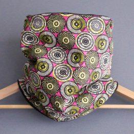 Snood wax femme col tissu motifs graphique rosaces african rose fuchsia noir vert mode hiver tendance style polaire réversible - Julie & COo
