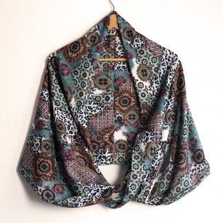 Snood foulard femme écharpe mi-saison motifs variés fleurs étoiles léopard multicolore bleu rouge noir mode accessoire cadeau - Julie & COo