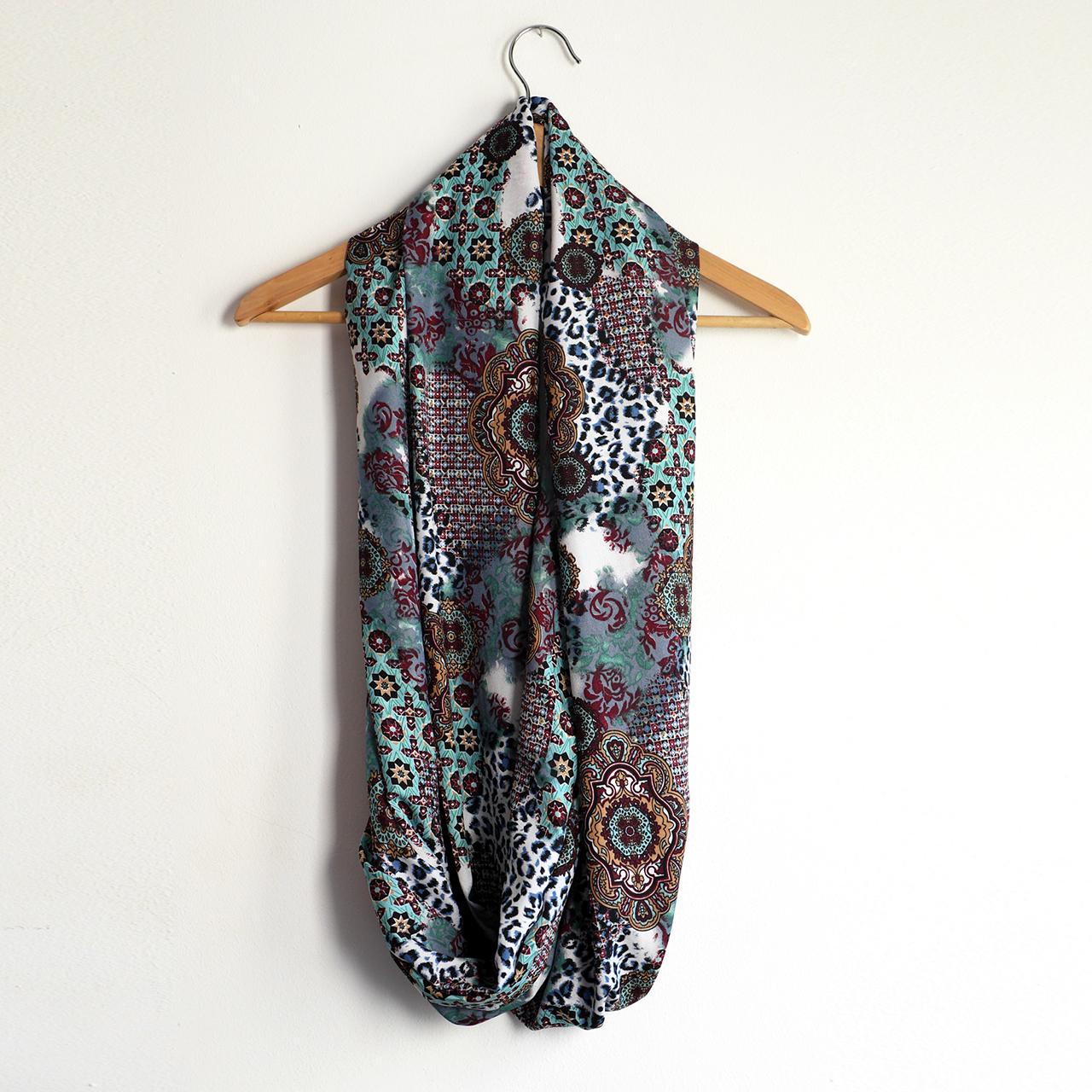 Snood foulard femme écharpe mi-saison motifs variés fleurs étoiles léopard  multicolore bleu rouge noir e397f57be9b9