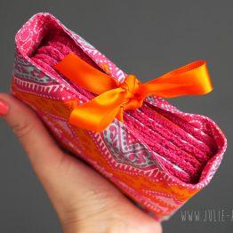 Lingette boho tissu lavable écologique démaquillantes fait main coton ethnique chevron bohème triangle coloré rose fuchsia orange bleu turquoise éponge doux zéro déchet - Julie & COo