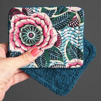 Lingettes lavables démaquillantes écologiques en tissu coton et éponge absorbant coloré cadeau femme unique fait main - Julie & COo