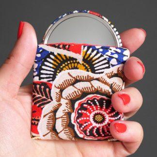 Petit miroir rond 56mm de poche tissu étui coton motifs floraux colorés dahlia rouge passion bleu multicolore accessoire beauté femme cadeau fête des mères - Julie & COo