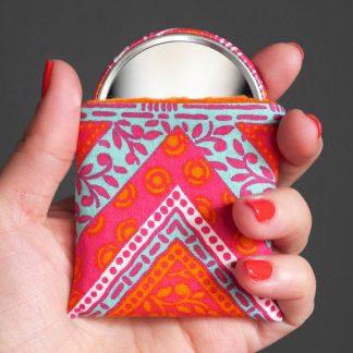 Miroir femme petit cadeau fête des mères pas cher unique handmade boho chevrons rose fuchsia orange bleu turquoise - Julie & COo