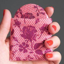 Miroir femme tissu dentelle prune vieux rose accessoire féminin cadeau - Julie & COo