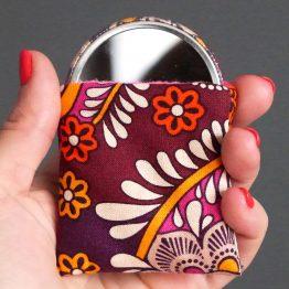 Miroir femme fleur india violet rose fuchsia pocket mirror cadeau fête des mères rond étui - Julie & COo