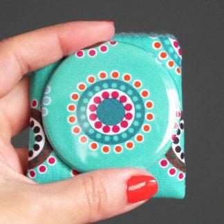 Petit miroir rond pop bleu turquoise femme étui polaire orange cercle cadeau fête des mères - Julie & COo