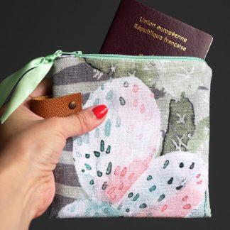 Pochette cactus femme original tropical trousse zip vet rose rangement maquillage fait main unique - Julie & COo
