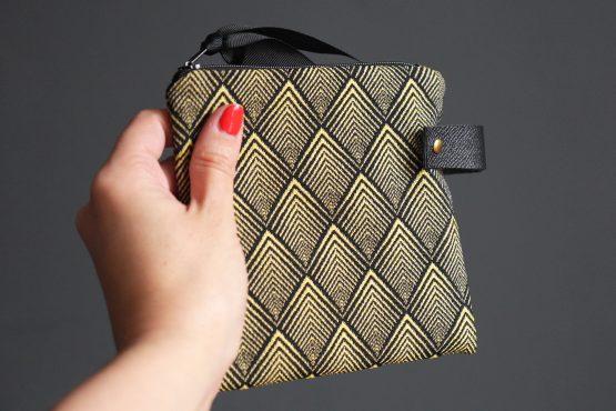 Pochette femme jacquard trousse losanges or noir zippé carrée cuir rangement passeport maquillage cadeau fête des mères - Julie & COo