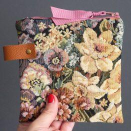 Pochette carrée trousse jacquard fleur multi-usages organiseur de voyage zip vieux rose vintage rétro romantique - Julie & COo