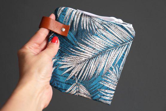 Petite pochette femme tropical feuille de palmier jacquard exotique français trousse rangement voyage maquillage passeport - Julie & COo