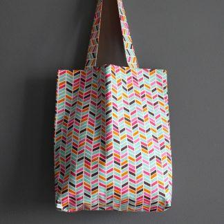 Sac femme tissu tote bag cabas fourre tout coloré graphique chevrons bleu turquoise orange mangue pois multicolore course shopping plage cadeau - Julie & COo