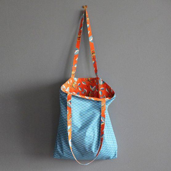 Sac femme tissu ouistiti tote bag orange paprika bleu pétrole écailles japonais graphique cabas fourre-tout réversible original unique cadeau féminin - Julie & COo