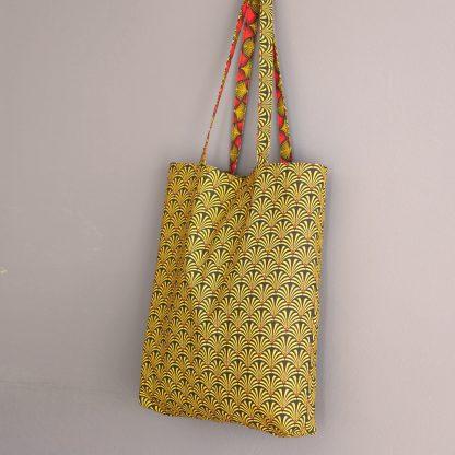 Totebag femme sac femmes totebag tissu graphique ethnique reversible rouge jaune moutarde ketchup cadeau fête des mères - Julie & COo