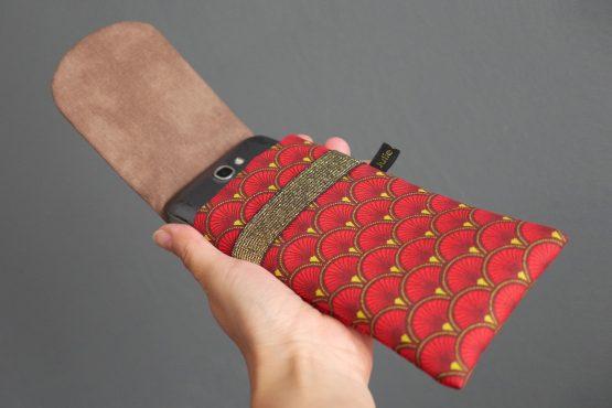 Housse Huawei étui tissu écailles japonaises graphique rouge marron jaune téléphone portable élastique doré brillant - Julie & COo