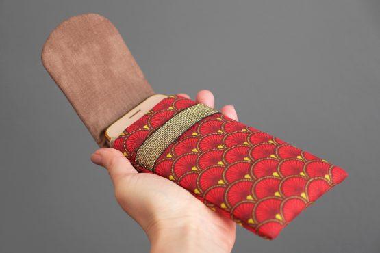 Housse iPhone Xs étui tissu écailles japonaises graphique rouge marron jaune téléphone portable samsung S10 élastique doré brillant - Julie & COo