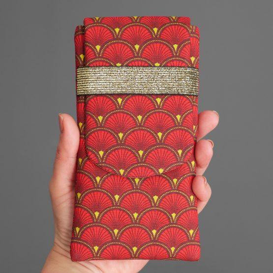 Housse iPhone Xs Max étui tissu écailles japonaises graphique rouge marron jaune téléphone portable samsung S10+ élastique doré brillant - Julie & COo
