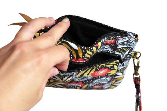 Double porte-monnaie femme nagoya japonais dragonne amovible tissu fleurs rouge terracotta jaune ocre zip noir ruban simili cuir doré satin trousse pochette cadeau pratique - Julie & COo