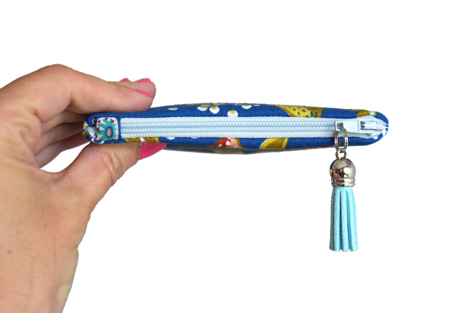 Carte Bleue Zip.Mini Porte Monnaie Femme Ancolie Format Carte De Credit Tissu Fleurs Multicolores Fond Bleu Zip Turquoise