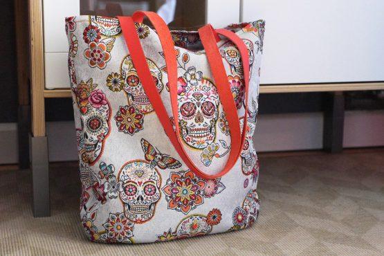 Sac femme cabas tote bag jacquard anses en cuir têtes de mort mexicaine dia de los muertos blanc coloré rouge brique fleurs cadeau unique fête des mères corail - Julie & COo