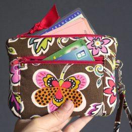 Double porte-monnaie femme tissu fleurs colorées marron orange zip ruban rouge pochette portefeuille avec dragonne cadeau original fait main - Julie & COo