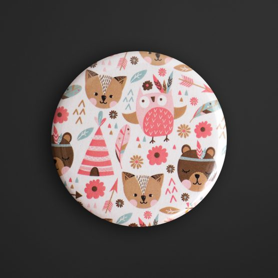 Lot de 2 magnets rond animaux indien tipi boho rose pastel hibou plume décoration chambre enfant aimant frigo - Julie & COo