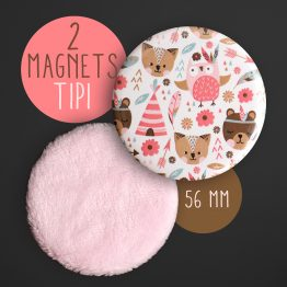 Lot de 2 magnets rond animaux indien tipi boho rose pastel fluffy fourrure hibou plume décoration chambre enfant aimant frigo - Julie & COo