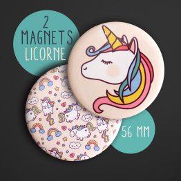Magnet licorne tête cheval féérique kawaii fille décoration chambre enfant aimant frigo rond 56 mm original unicorn - Julie & COo