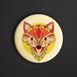 Magnets animaux tribals renard coloré amusant décoration chambre enfant aimant frigo rond ethnique original - Julie & COo