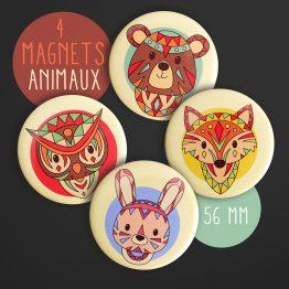 Magnets animaux tribals renard ours lapin hibou coloré amusant décoration chambre enfant aimant frigo rond ethnique original - Julie & COo