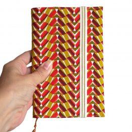 Agenda rentrée 2019-2020 graphique géométrique tissu pharaon rouge jaune curry semainier carnet rendez-vous organiseur femme cadeau unique handmade original - Julie & COo