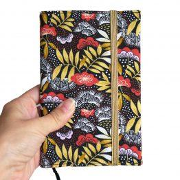 Agenda japonais motifs fleuris Nagoya fleurs feuilles rouge jaune noir élastique doré carnet rendez-vous organiseur femme rentrée poche 2019-2020 fait main - Julie & COo