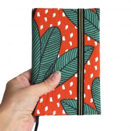 Agenda rentrée scolaire 2019-2020 tissu arbre du voyageur vert orange terre cuite handmade exotique cadeau semainier rendez-vous carnet de poche - Julie & COo