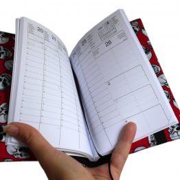 Agenda mixte tête de mort rouge noir blanc biker gothique skul tissu handmade original carnet rendez-vous journal poche organiseur rentrée 2019 2020 - Julie & COo