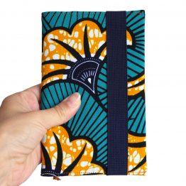 Agenda de poche couverture tissu wax handmade original africain fleurs de mariage orange mangue et bleu émeraude cadeau unique organiseur rentrée scolaire 2019-2020 - Julie & COo