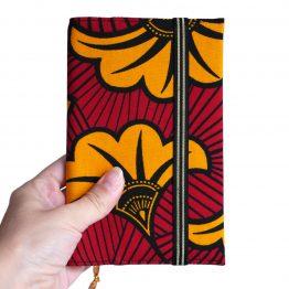 Agenda wax fleurs de mariage tissu africain journal de poche couverture handmade original rouge jaune orangé noir doré or cadeau unique organiseur rentrée scolaire 2019-2020 - Julie & COo