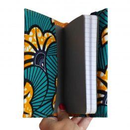 Bullet journal de poche carnet A6 ligné 80 pages couverture tissu handmade wax original africain fleurs de mariage orange et bleu cadeau unique organiseur de vie - Julie & COo