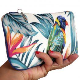 Étui à lunettes velours pochette tissu tropical handmade trousse maquillage perroquet exotique vacances zip passepoil bleu cadeau femme original - Julie & COo