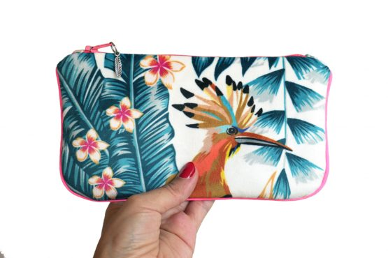 Étui à lunettes velours pochette tissu tropical handmade trousse maquillage perroquet exotique vacances zip rose fluo cadeau femme original - Julie & COo