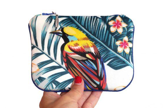 Porte-monnaie velours pochette tissu tropical handmade trousse perroquet exotique vacances zip passepoil bleu cadeau femme original - Julie & COo