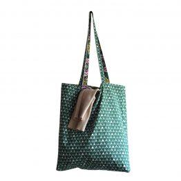 Totebag femme sac shopping réversible tissu coton wax dahlia violet vert graphique triangle cabas course vacances cadeau original fait main unique - Julie & COo