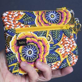 Double porte-monnaie zip dahlia jaune - Julie & COo