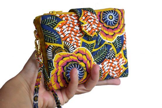 Double porte-monnaie pochette duo zip tissu dahlia jaune wax dragonne fermeture aimant pliée cadeau original femme fait main - Julie & COo