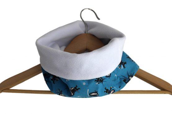 Snood garçon ninja tissu bleu turquoise polaire blanc guerrier amusant enfant col écharpe tour de cou réversible hiver chaud - Julie & COo