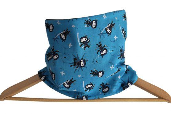 Snood garçon ninja tissu bleu turquoise polaire noir guerrier amusant enfant col écharpe tour de cou réversible hiver chaud - Julie & COo