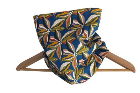 Col snood femme tissu fleurs ibis écharpe polaire orange terre cuite couleur automne bleu pétrole mode fait main chaud hiver ski - Julie & COo
